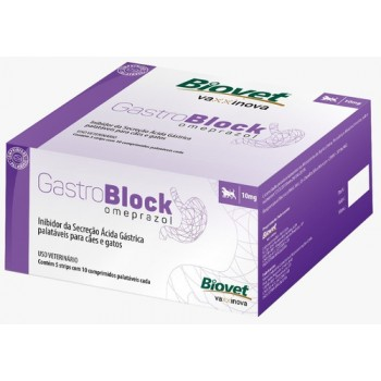Gastroblock Omeprazol 10 Mg Caixa c/ 50 Comprimidos - Biovet
