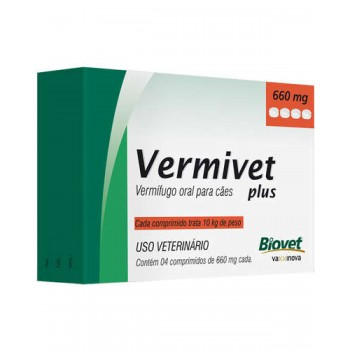 Vermivet Plus 660 Mg Cães c/ 4 Comprimidos - Biovet